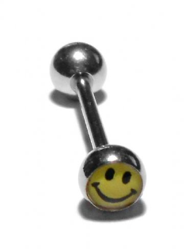 Stainless Steel 'Smiley Face' Tongue Bar